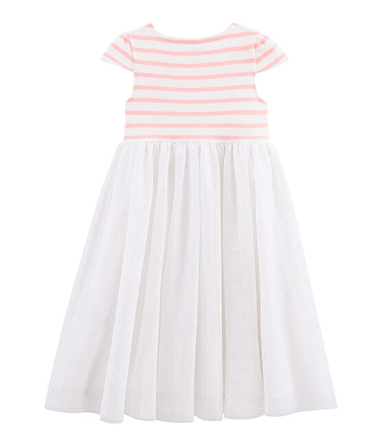Girls' Short-Sleeved Dress Marshmallow white / Patience pink