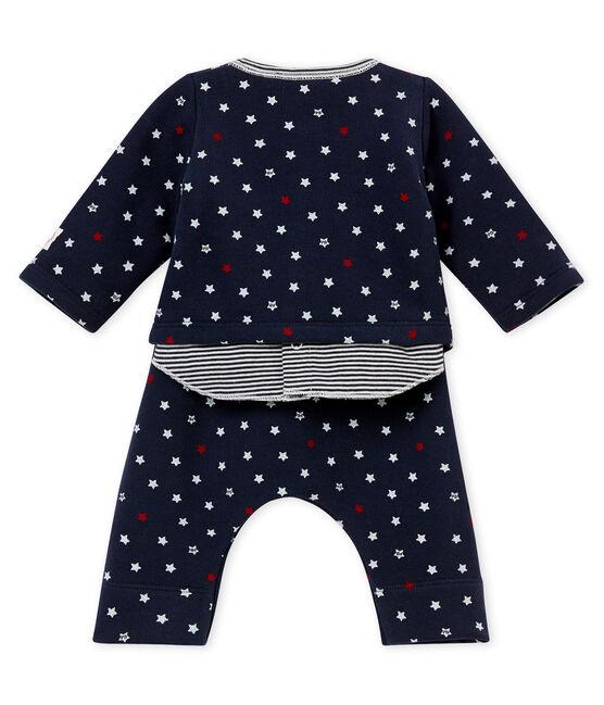Baby boy's 3 piece set with stars Smoking blue / Multico white