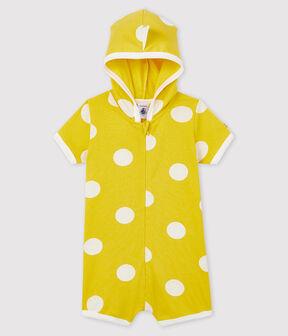 Babies' Dinosaur Ribbed Playsuit Ble yellow / Ecume white