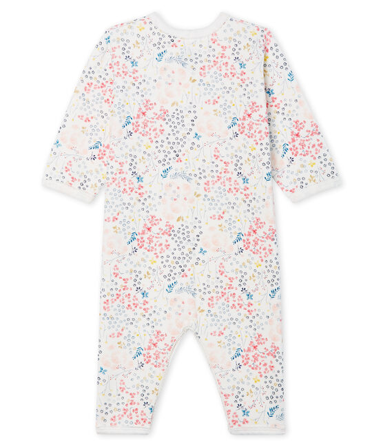 Baby Girls' Footless Tube-Knit Sleepsuit Marshmallow white / Multico white