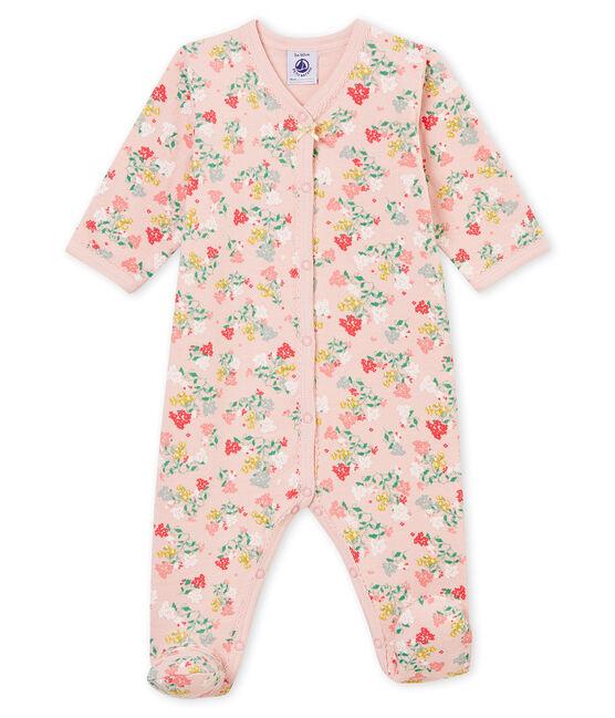 Baby girl's sleepsuit Joli pink / Multico white