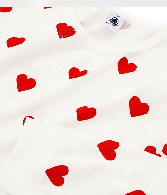 Girls'/Women's Red Heart Pattern Organic Cotton Pyjamas Marshmallow white / Terkuit red