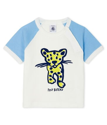 Short-sleeved T-shirt for baby boys Marshmallow white / Jasmin blue