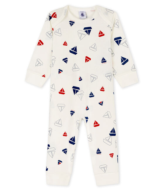 Babies' buttonless boat print sleepsuit in cotton Marshmallow white / Multico white