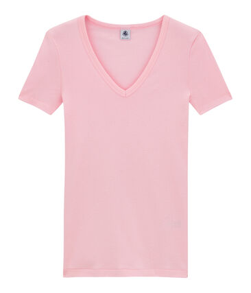Women's original rib V-neck T-shirt Babylone pink