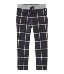 Boys' Checked Knit Trousers City black / Smoking blue