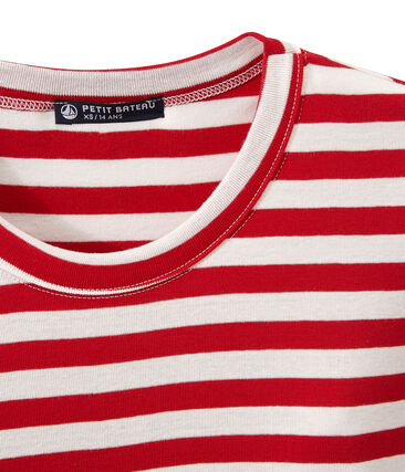 Women's T-shirt in heritage striped rib Terkuit red / Marshmallow white