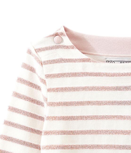 Girl's shiny breton top Marshmallow white / Joli Brillant pink