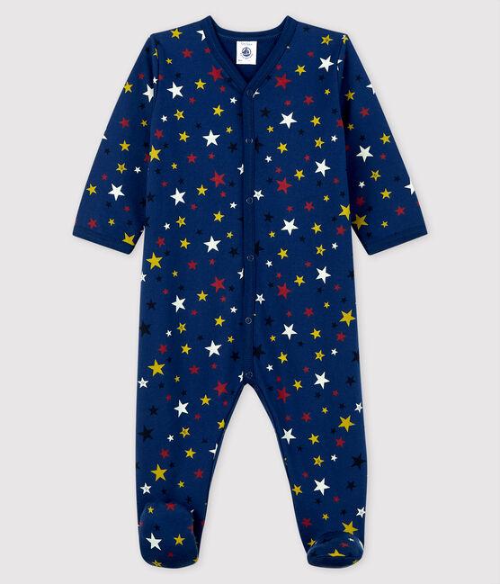 Babies' Starry Night Fleece Sleepsuit Medieval blue / Multico white