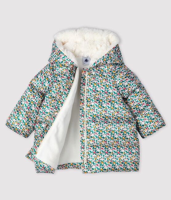 Baby girl's quilted puffer jacket Marshmallow white / Multico white