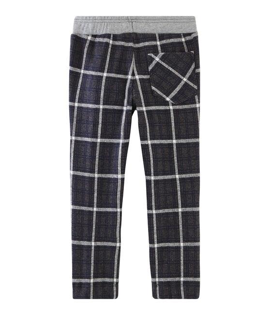 Boys' Checked Knit Trousers City black / Smoking blue