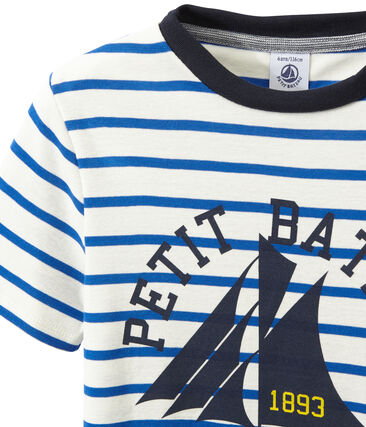 Boy's striped screen print T-shirt Marshmallow white / Perse blue