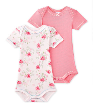 Set of 2 baby girls' short-sleeved bodysuits