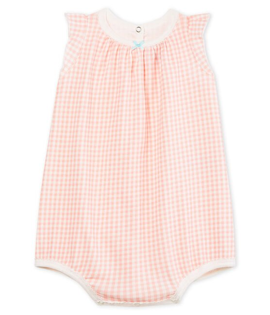 Baby Girls' cotton shortie Marshmallow white / Rosako pink