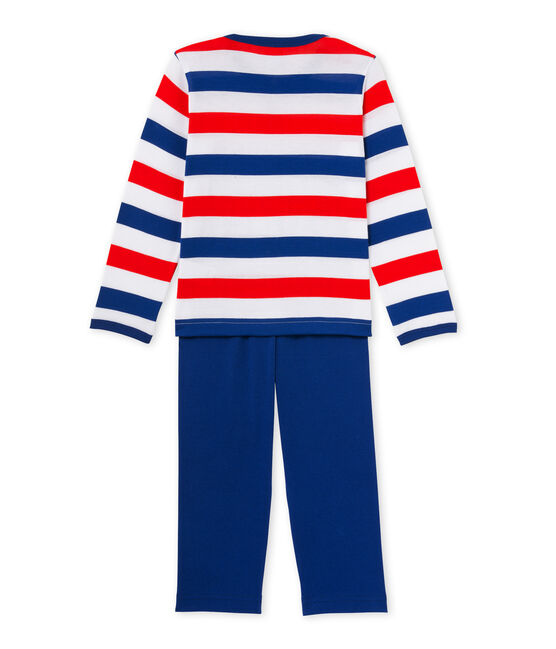 Boys' pyjamas in striped jersey Ecume white / Source blue