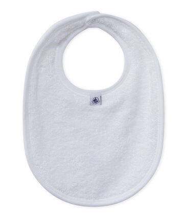 Baby's unisex bib in lined velour Ecume white
