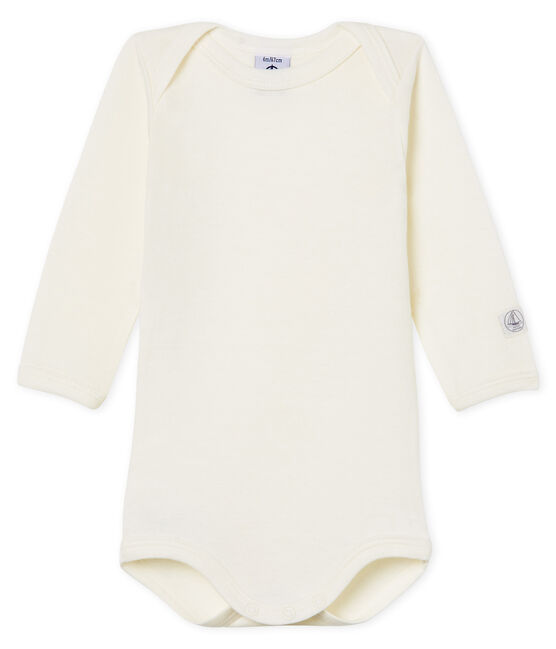Babies' Long-Sleeved Bodysuit in Cotton/Wool Marshmallow white
