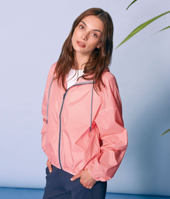 Unisex short windbreaker Petal pink / Crystal blue