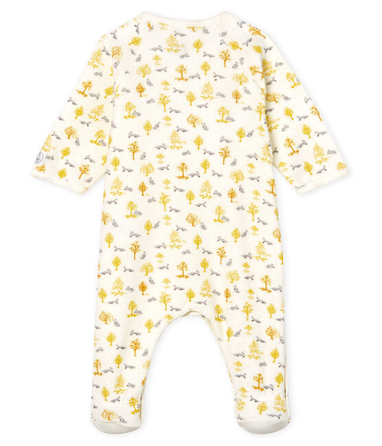 Baby Boys' Sleepsuit in Extra Warm Brushed Terry Towelling Marshmallow white / Multico white