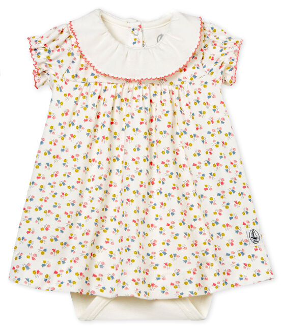Baby girls' printed dress/bodysuit Marshmallow white / Multico white