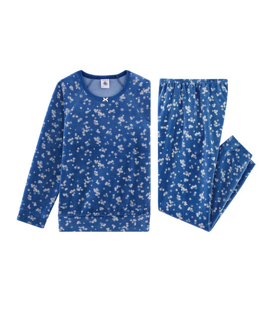 Girls' Velour Pyjamas Major blue / Multico white