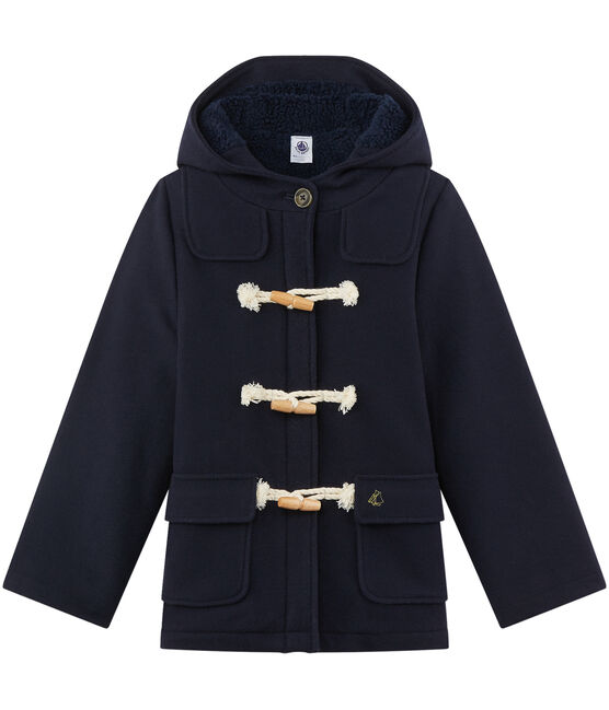 Girl's duffel coat in wool broadcloth Smoking blue