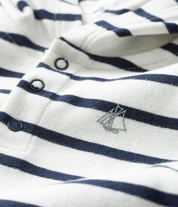 Baby Boys' Hooded Bodysuit Marshmallow white / Smoking blue
