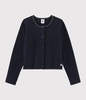 Girls' Wool and Cotton Knit Cardigan Smoking blue