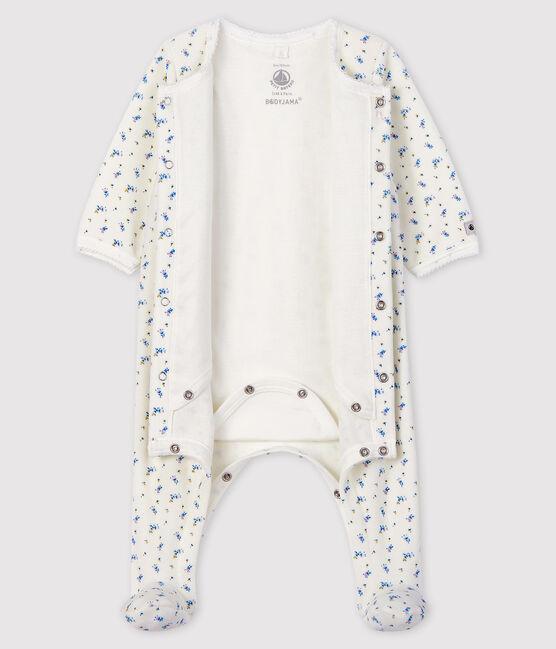 Baby Girls' floral print Velour Bodyjama Marshmallow white / Multico white