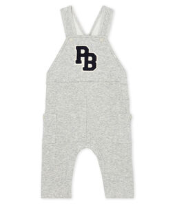 Baby Boys' Long Dungarees in Velour Knit Beluga grey