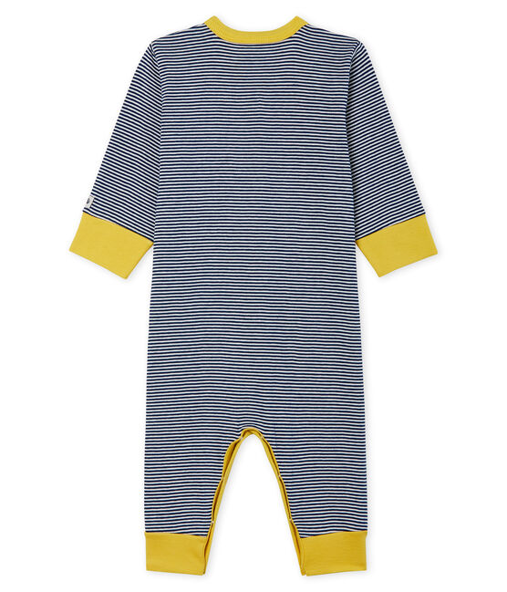 Baby Boys' Footless Ribbed Sleepsuit Medieval blue / Marshmallow white