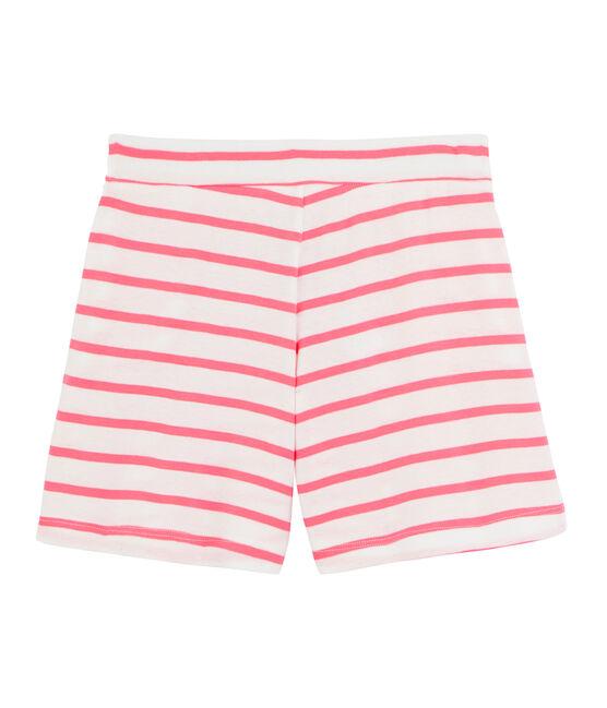 Girls' Ribbed Shorts Marshmallow white / Cupcake pink