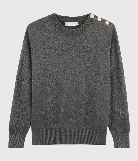 Women's shiny cotton jumper City black / Argent grey