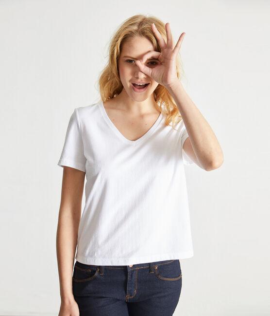 V-NECK women's fine jersey tee Ecume white