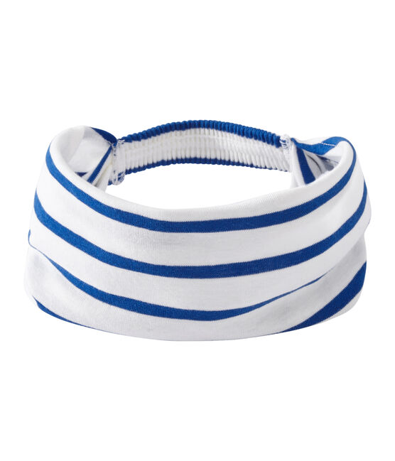 Girl's striped headscarf Marshmallow white / Perse blue