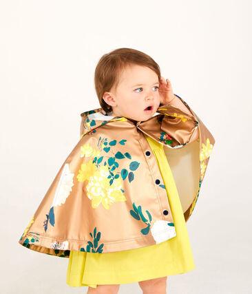 Print rain cape for baby girls Cuivre brown / Multico white