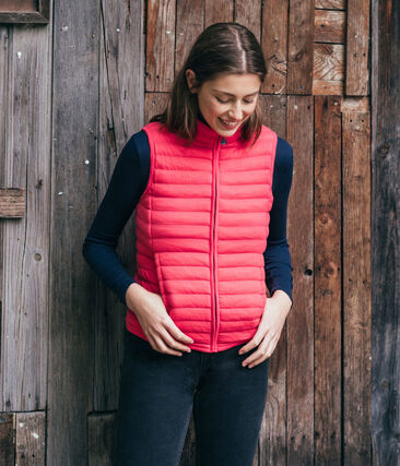 Women's Sleeveless Tube Knit Down Jacket Signal red