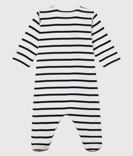 Babies' Striped Ribbed Sleepsuit Marshmallow white / Smoking blue