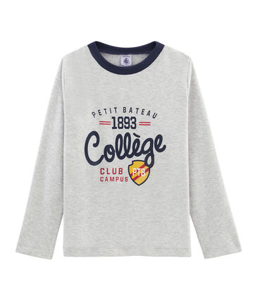Boys' Long-Sleeved Screen Printed T-shirt Beluga grey