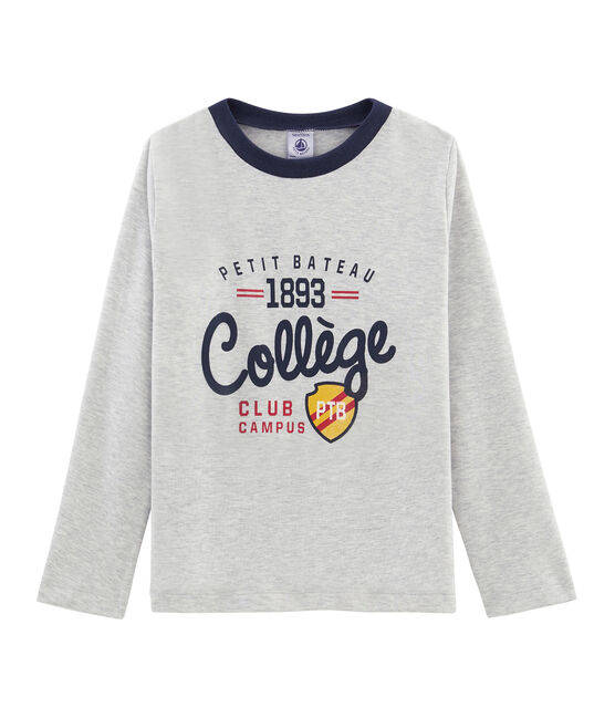 Boys' Long-Sleeved Screen Printed T-shirt Beluga grey