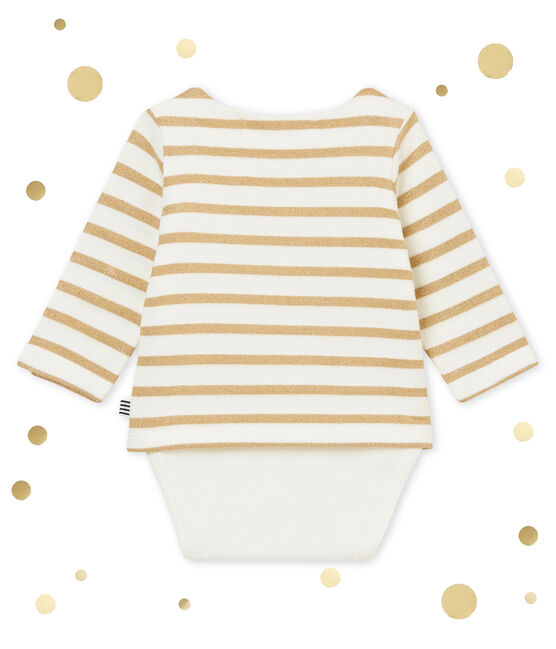 Baby girl's sailor striped body T-shirt Marshmallow white / Brindille Brillant brown