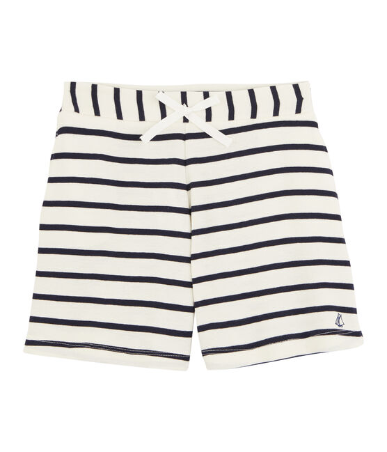Girls' Ribbed Shorts Coquille beige / Abysse blue