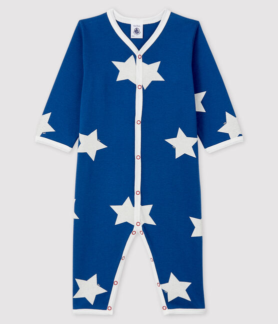 Babies' Blue Ribbed Sleepsuit with Big Stars Major blue / Marshmallow white