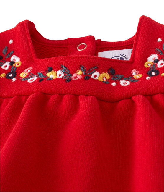 Baby girl's embroidered fleece dress Froufrou red