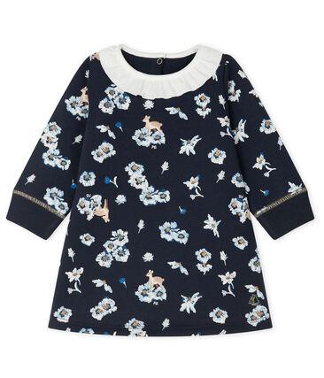 Baby Girls' Long-Sleeved Print Dress Smoking blue / Multico white
