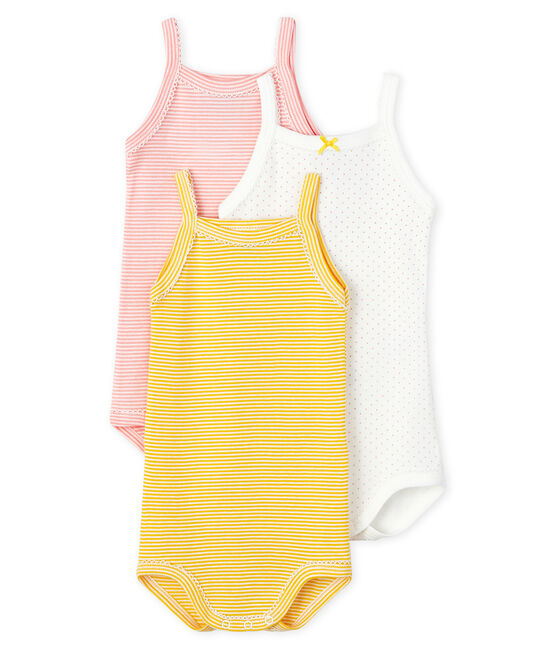 Baby Girls' Pastel Bodysuits with Straps - 3-Piece Set . set