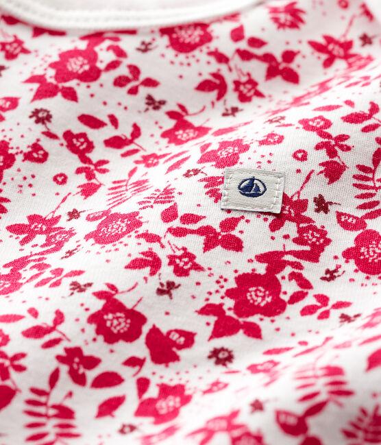 Baby Girls' Short-Sleeved Bodysuit Marshmallow white / Flashy pink