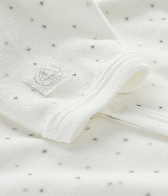 White velour star print sleepsuit Marshmallow white / Multico white