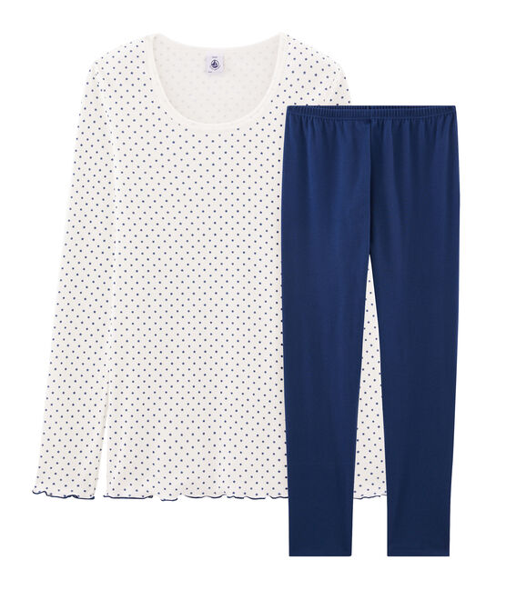Girls' Ribbed Pyjamas Medieval blue / Multico white