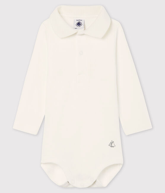 Baby's long-sleeved bodysuit with polo neck Marshmallow white